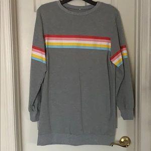 Sweatshirt dress with rainbow across chest, XL